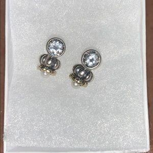 Caviar Lagos White Topaz/Pearl Earrings